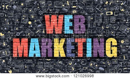 Web Marketing Concept with Doodle Design Icons.