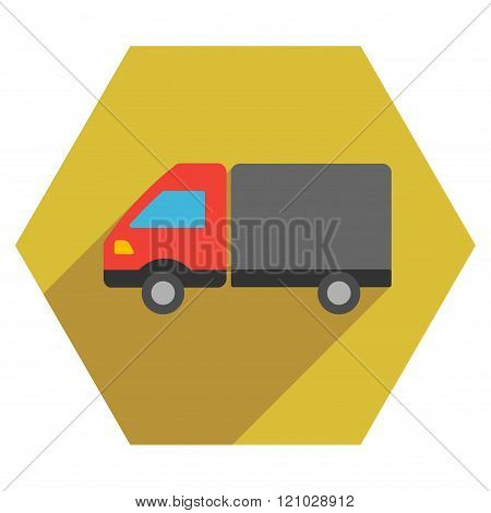Shipment Flat Hexagon Icon with Long Shadow