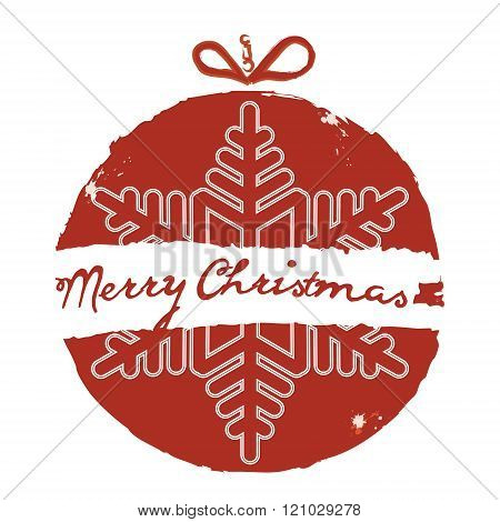 Christmas Ball. Grunge Style. Vector Christmas Card. Christmas Background With Christmas Ball Illust