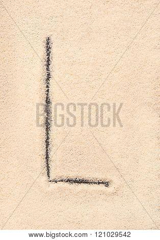 L Letter Written On Sand