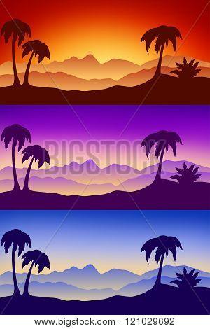 Landscape desert silhouette nature palm sunset sunrise illustration vector