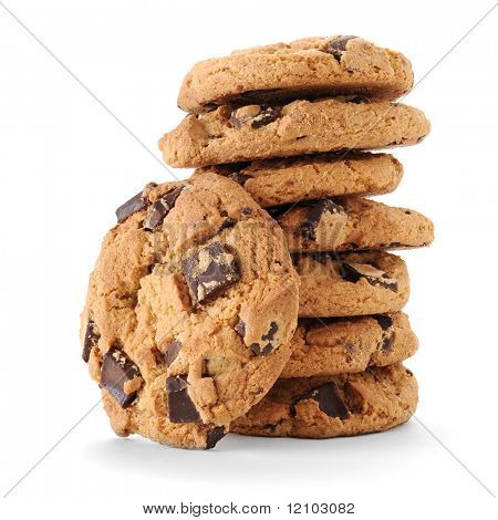 Extreme close-up image of chocolate chips cookies