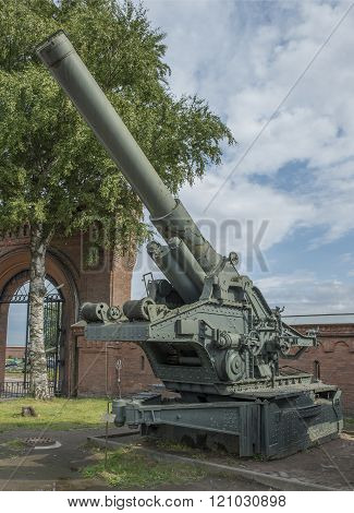RUSSIA; SAINT-PETERSBURG - JULY 8- BR-17- 210- mm cannon (1939). Weight kg: guns - 44000 shell - 15 in military history museum on July 8; 2015 in St. Petersburg