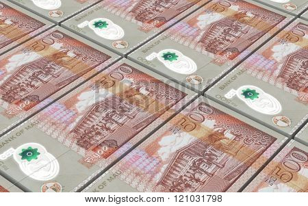Mauritian rupee bills stacked background. Computer generated 3D photo rendering.
