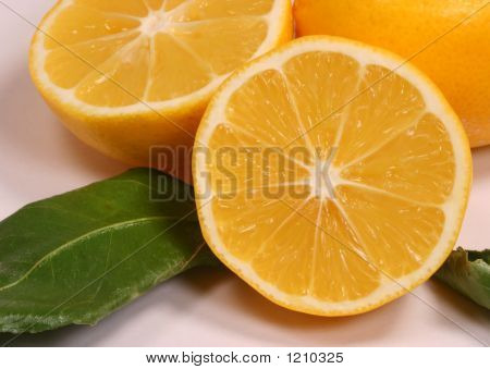 Close Up Up Of Juicy Bright Yellow Cut Meyer Lemon