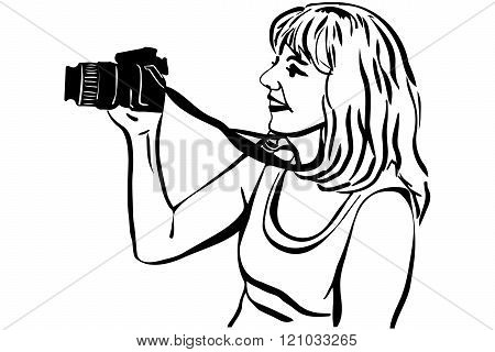 Vector Sketch Girl Photographer Photographing