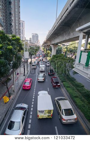 Sukhumvit Road Traffic, Bangkok, Thainland