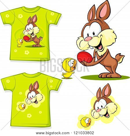 Shirt With Cute Easter Design - Bunny An Chicken Easter Illustration