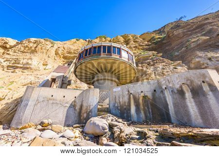 LA JOLLA, CALIFORNIA - FEBRUARY 27, 2016: The Mushroom House on Black's Beach. The home dates from 1968.