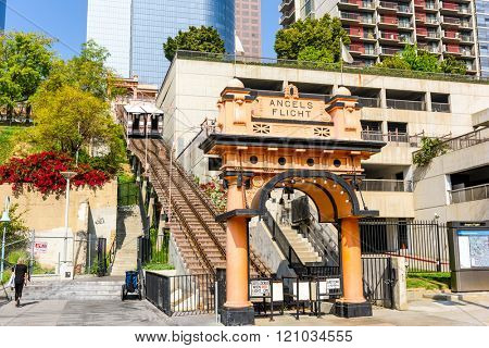 LOS ANGELES - FEBRUARY 29, 2016: Angels Flight in Downtown LA. The Funicular dates from 1901.