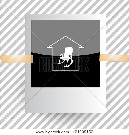home comfort. Photoframe. Raster icon.