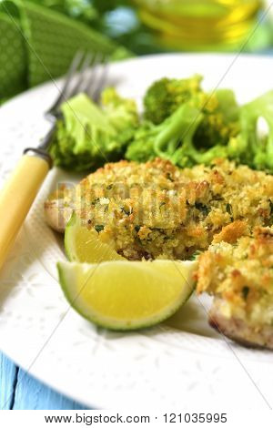 Cod Baked With Garlic Bread Crumbs.