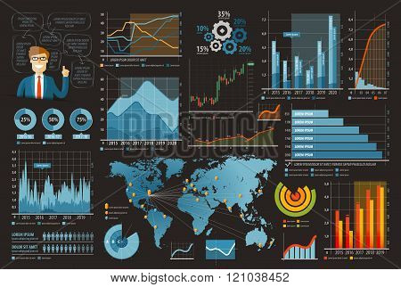 business and finance template design infographic vector illustration. set of charts, graphs, diagram