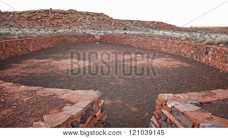 Ceremonial Ball Court Ruins At Wupatki National Monument