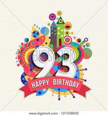 Happy Birthday 93 Year Greeting Card Poster Color