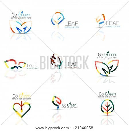 Linear leaf abstract logo set, connected multicolored segments of lines. minimal wire business icons isolated on white. Flat design