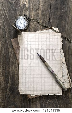 Antique Book And Old Pocket Watch