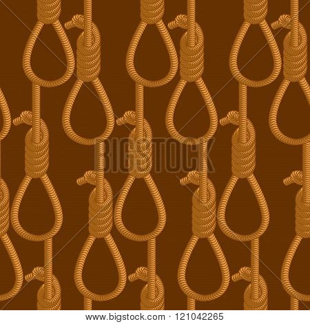 Hangman Seamless Pattern. Hangmans Noose Texture. Hanging Ornament. Background Of Thick Rope Loop