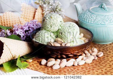 pistachio ice cream in a plate pistachio and lilac
