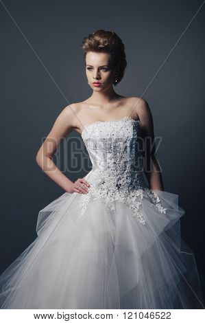 young beautiful bride in wedding dress