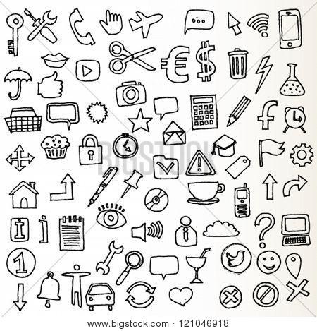 New Set of Internet Icons Doodled