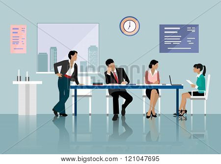 People talking and working in office. Staff around table working with laptop tablet.
