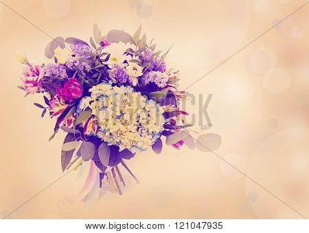 beautiful bouquet with different  flowers made with color filters