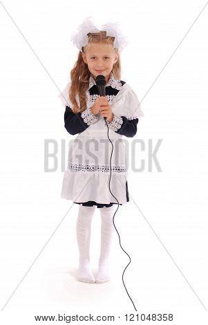 Little Schoolgirl Hold Black Microphone
