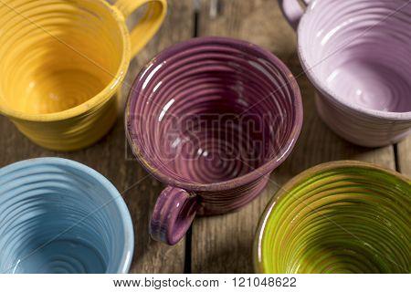 Five Tea Cups High Angle Close-up