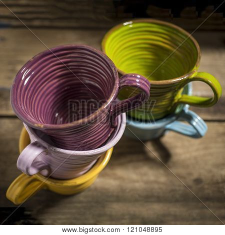 Five Teacups In Two Stacks