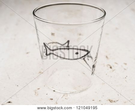 Crystal Drinking Glass With Black Fish Design