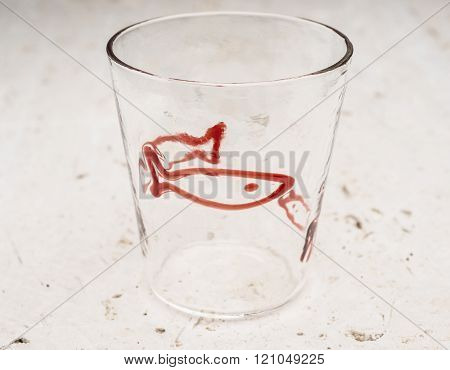 Crystal Drinking Glass With Red Fish Design