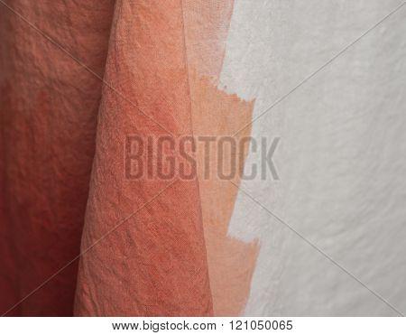 Close Up Of Linen With Orange Zig zag Design