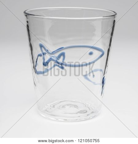 Crystal Drinking Glass With Outlined Blue Fish Design