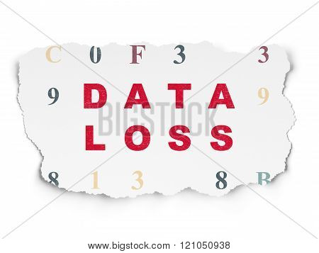 Data concept: Data Loss on Torn Paper background