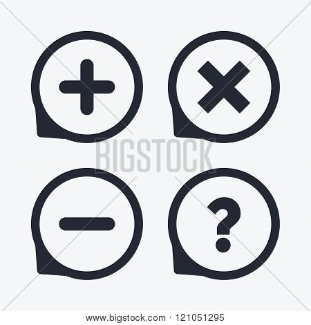 Plus and minus icons. Question FAQ symbol.