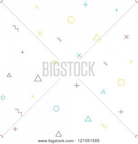 Vector abstract seamless geometric pattern. Different colorful shapes: triangle, circle, stairs, cross and plus.
