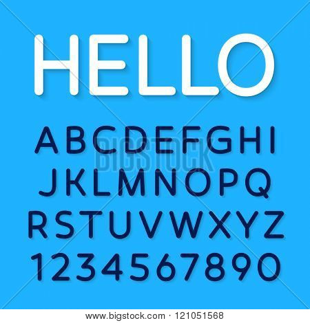 Vector rounded font. Latin alphabet from A to Z and numbers from 1 to 0.
