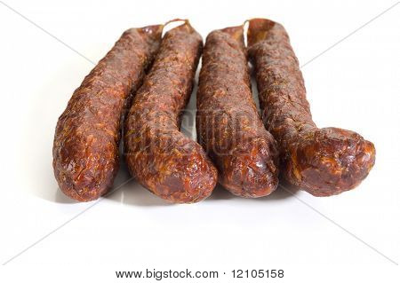 Image of a sausages studio isolated on white background