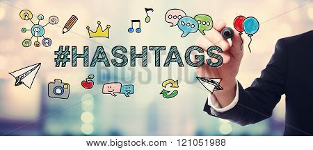 Businessman Drawing Hashtags Concept