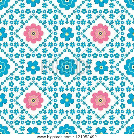 Floral Background, Seamless Vector Floral Pattern