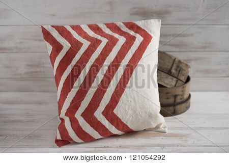 Square White With Red Chevron Throw Pillow  With Wooden Basin