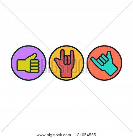 Set Of Hand Gestures. Thunb Up, Rock On, Hang Loose.