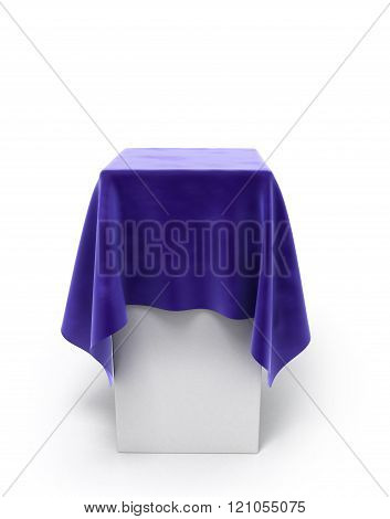 Blue Velor Cloth On A Square Pedestal Isolated On White