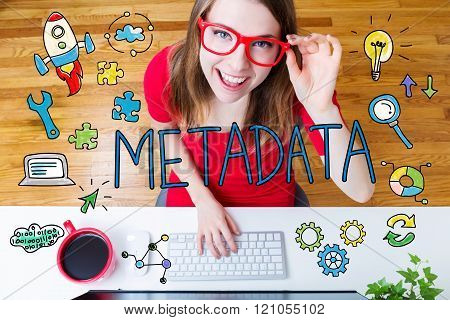 Metadata Concept With Young Woman
