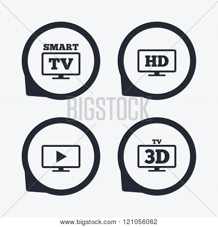 Smart TV mode icon. 3D Television symbol.