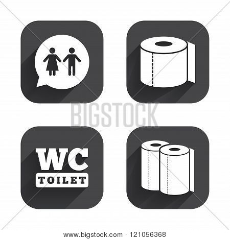 Toilet paper icons. Gents and ladies room.