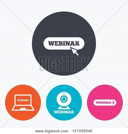 Webinar icons. Web camera and notebook pc signs.