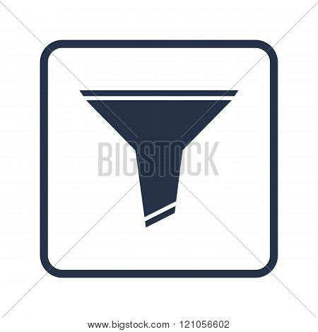 Filter Icon, On White Background, Rounded Rectangle Border, Blue Outline