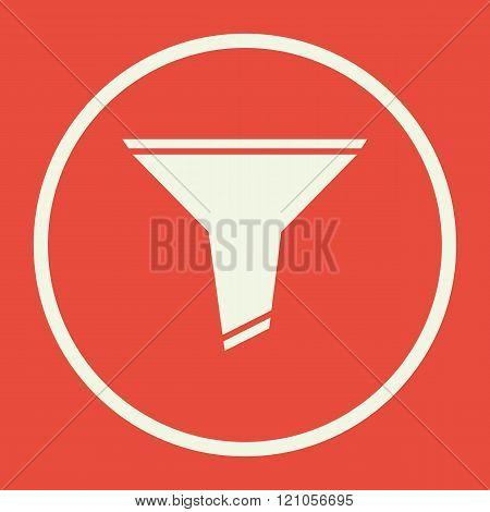 Filter Icon, On Red Background, White Circle Border, White Outline